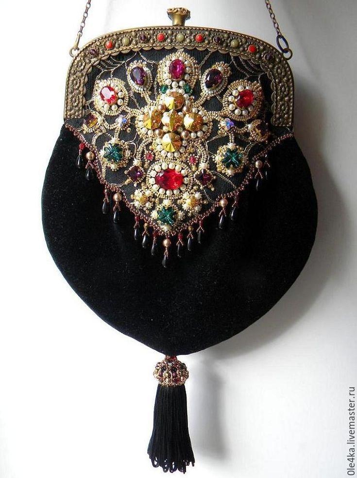 Купить Романская сумочка - черный, ольга орлова, сумочка с фермуаром, фермуар, крест