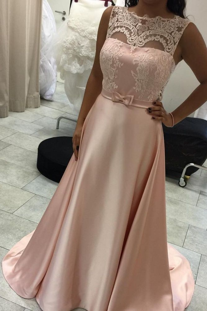 Pink A-line Prom Dresses,Lace Prom Dress,Simple Cheap Prom Gowns,Dress For Teens,Cute Dresses,Girly Party Dresses