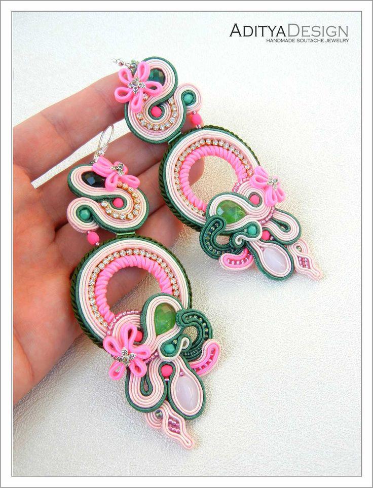 Soutache Earrings, Pink Green, Folk Design, Neon Earrings, Statement Jewelry, Dangling Earrings, Long Earrings,