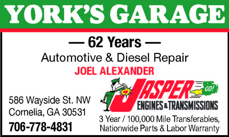 Automotive & Diesel Repair  JOEL ALEXANDER    JASPER  ENGINES & TRANSMISSIONS    3 Year / ... | York's Garage - Cornelia, GA #georgia #CorneliaGA #shoplocal #localGA