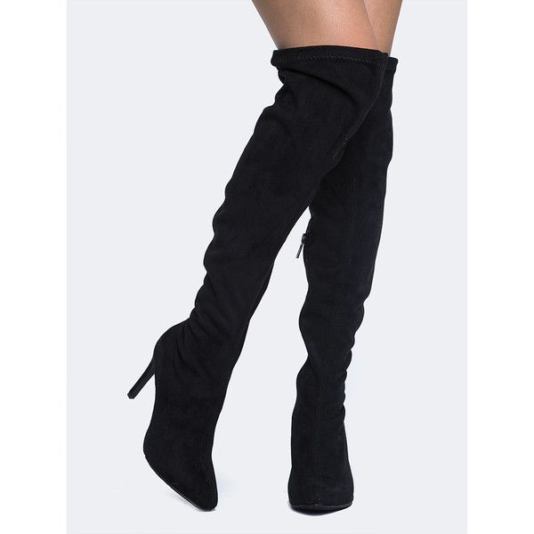breckelles Over the Knee Boot ($42) ❤ liked on Polyvore featuring shoes, boots, black, over-the-knee boots, black high heel boots, faux-fur boots, over the knee high heel boots, black over the knee high heel boots and black pointed toe boots