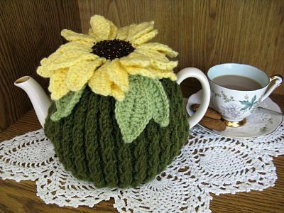 Sunflower Tea Cosy pattern (knit and crochet) pdf $6.00 on Etsy at http://www.etsy.com/listing/84218115/sunflower-teacosy-pattern-knit-crochet