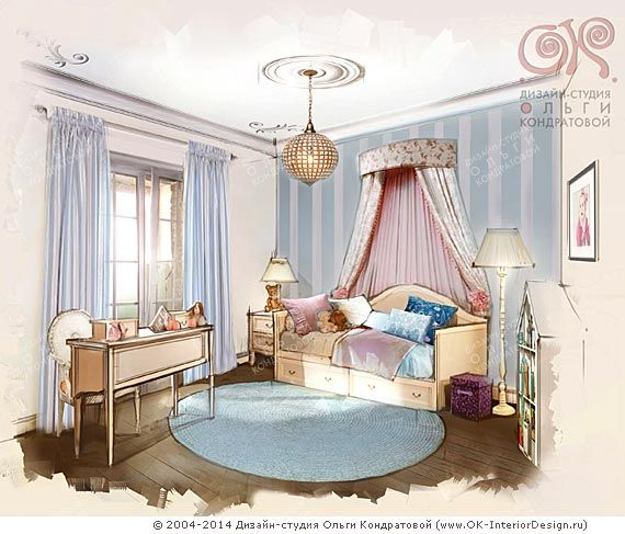 Дизайн детской для маленькой девочки http://www.ok-interiordesign.ru/blog/dizayn-interyera-detskoy-dlya-malenkoy-devochki.html