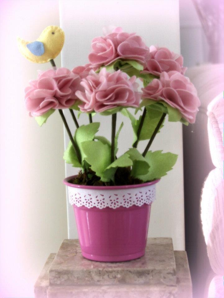 Vaso de flores de feltro. | Maria Girafa Ateliê ...