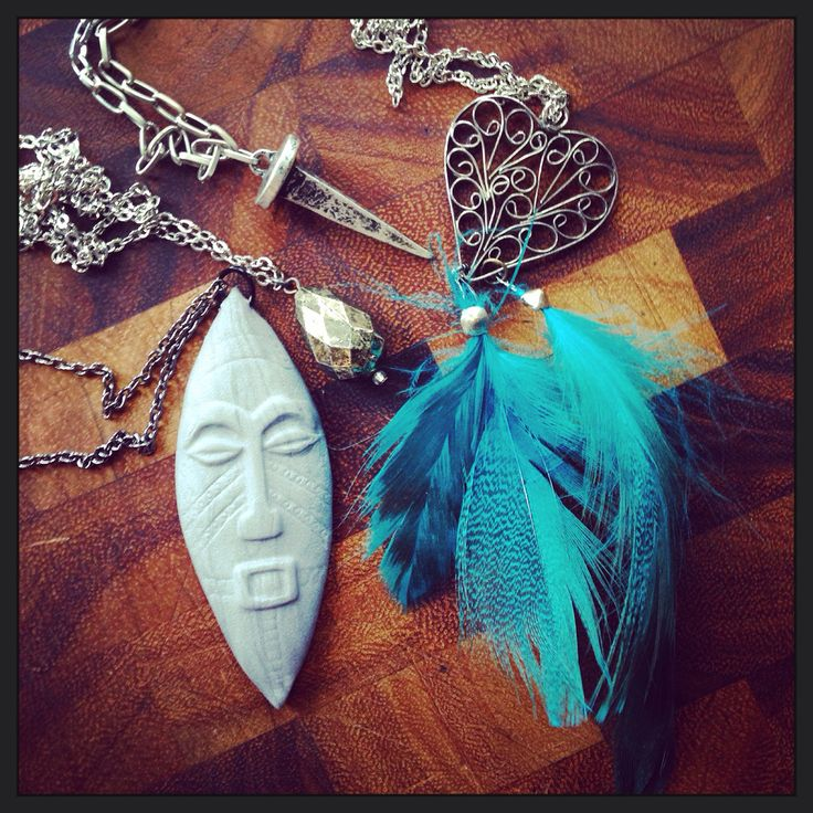 Gunmetal and turquoise bohemian layering necklaces. Do you like my Ooga Booga?