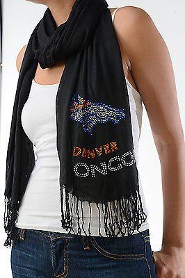 Denver Broncos Black Scarf Wrap Womens Football Team Rhinestone Crystals