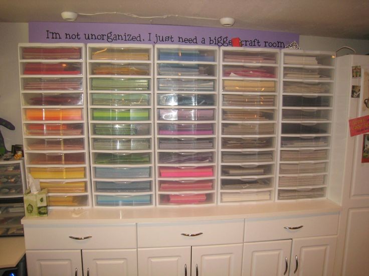 Wow, this is a nice way to organize paper in a craft room. but in reality,, who has this much room?