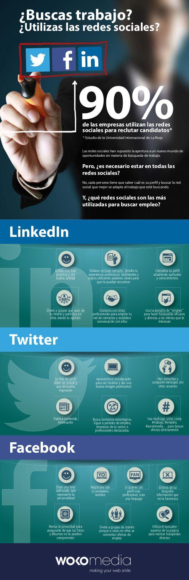 Usa Redes Sociales para buscar #empleo #infografia