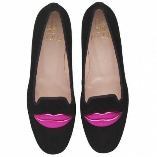 Slipper nere con labbra pop Pretty Loafers