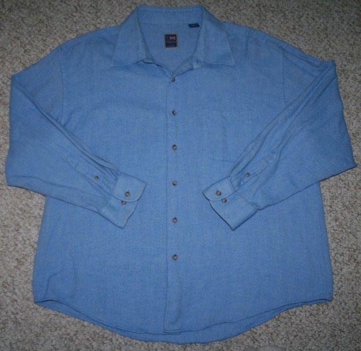 XXL Blue Dress Shirt T Harris London Mens Choice Cotton Pocket Solid 2XL 2X Men #THarris #dressshirt