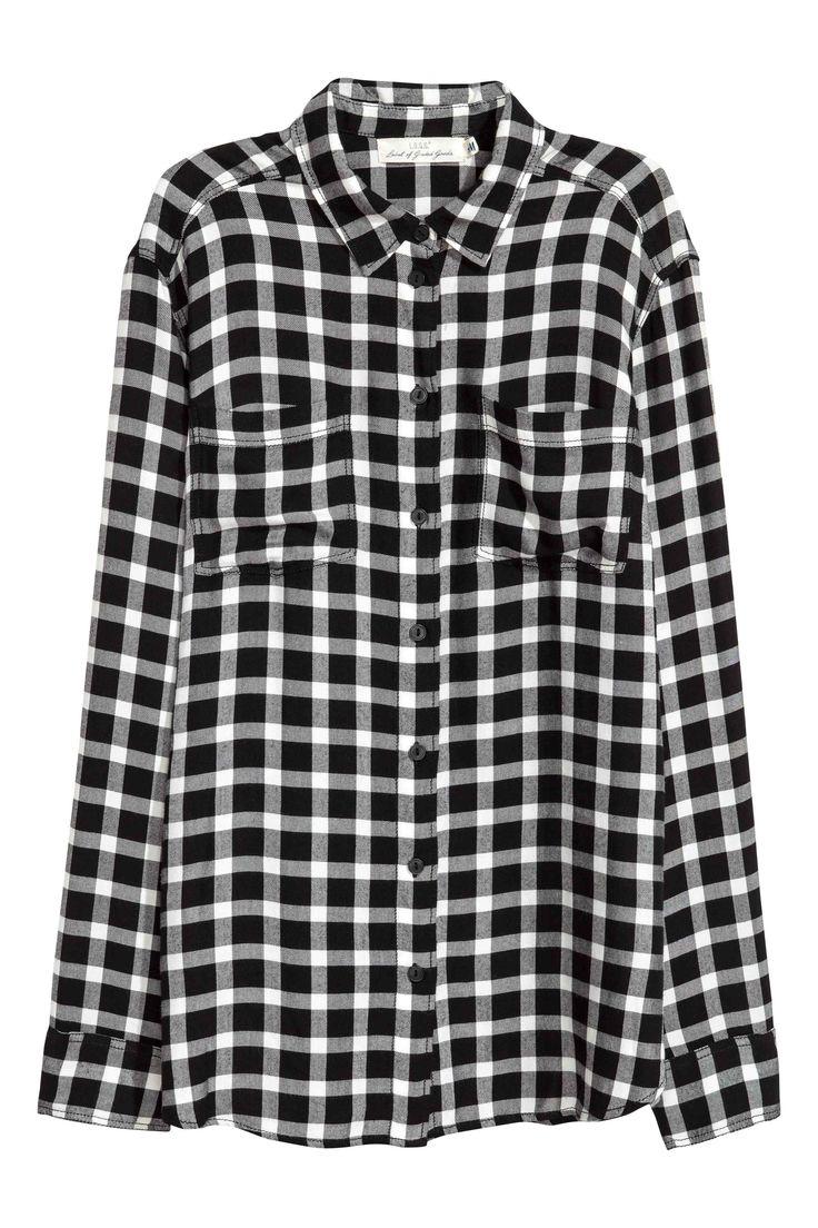 Flanelowa koszula - Czarny/Biała krata - ONA | H&M PL
