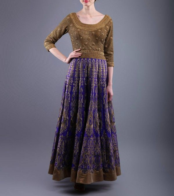 Blue & Golden Sequined Raw Silk Dress  http://www.shadesandyou.com/product/blue-golden-sequined-raw-silk-dress/