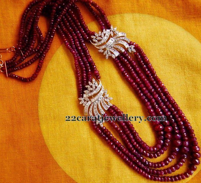 Jewellery Designs: Ruby Beads Set with Diamond Flowers