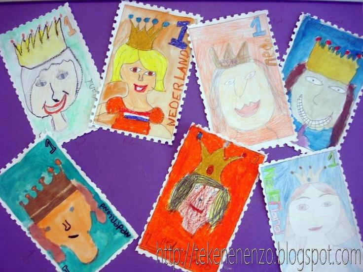 Ontwerp je eigen postzegel (bv. bij kinderpostzegels) De kinderen maken zelf een postzegel. Trek eerst met potlood en liniaal 1,5 cm van de randen van het tekenvel een kader. Teken binnen dit kader de postzegel, met een afbeelding van een koning(in). Vergeet de waardeaanduiding en de naam van ons land niet - in blokletters. Kleur de tekening in met materiaal naar keuze. Leg de witte randen onder de perforator en maak zo rondom gaatjes. Knip de gaatjes op de helft door voor een mooi…