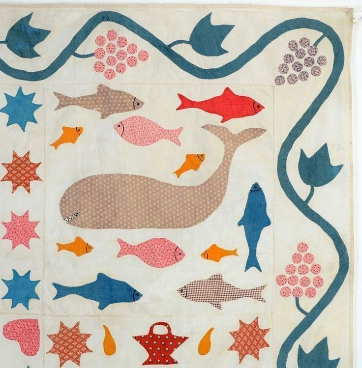 Folk Art Animals Quilt: Circa 1860; Connecticut