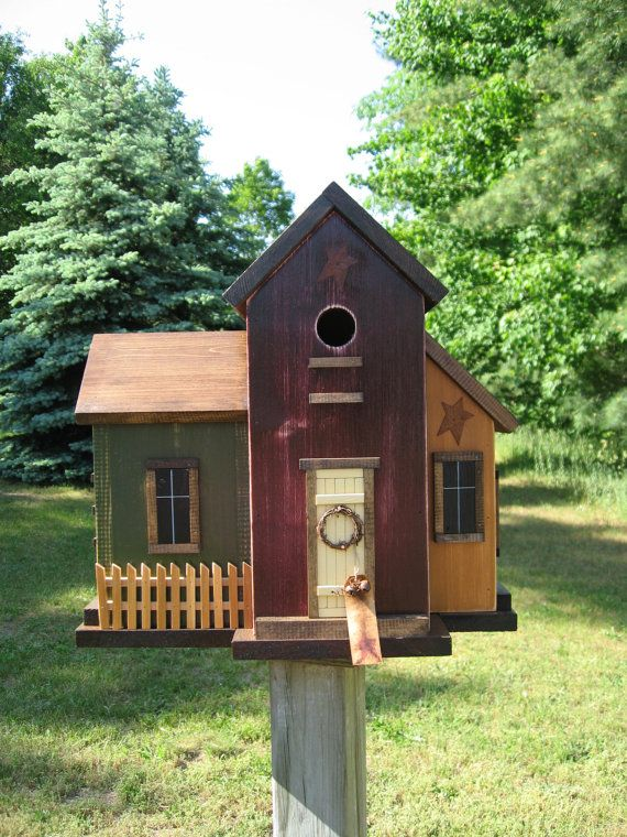 Primitive Folk Art Multi Colored Wooden Saltbox Birdhouse $100 by HarmonsCountryCrafts on etsy