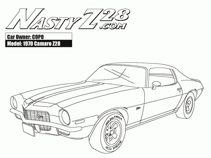 online american muscle car camaro z28 coloring pages