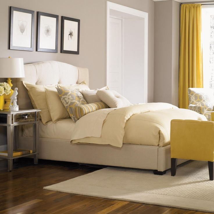 LOVE The Tufted Headboard And Yellow Accents Bergman Upholstered Bed    Phillips Furniture Store   Life.