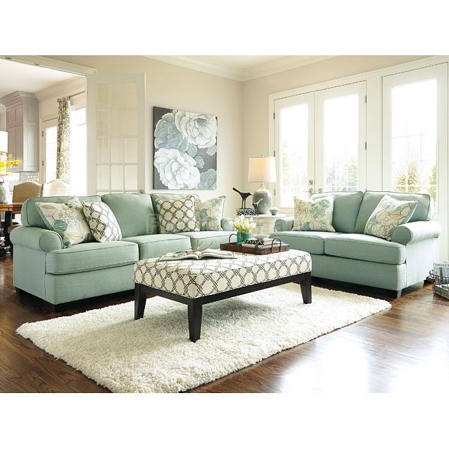 living room set ashley furniture. the daystar seafoam living room collection by signature design ashley furniture features stylishly shaped set-back arms set