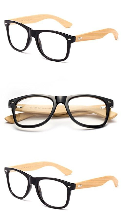 2a8d3bc49f Newbee Fashion - Real Bamboo Temples Clear Frames Glasses Men Women Wooden  Frames