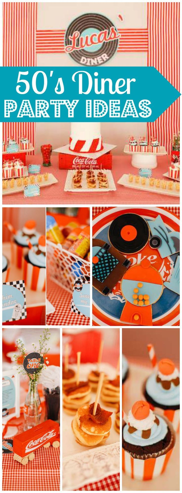 Love this 50's diner party with hoola hoops and bubble gum! See more party ideas at CatchMyParty.com!: