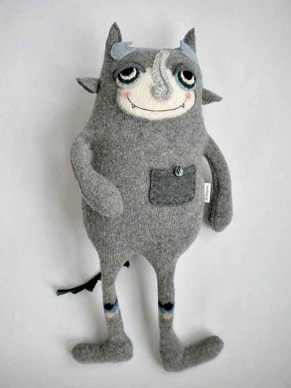 Stuffed Animal Monster Upcycled Wool Sweater by sweetpoppycat, $48.00 (She does great work, check out what other wonderful things she has made!)