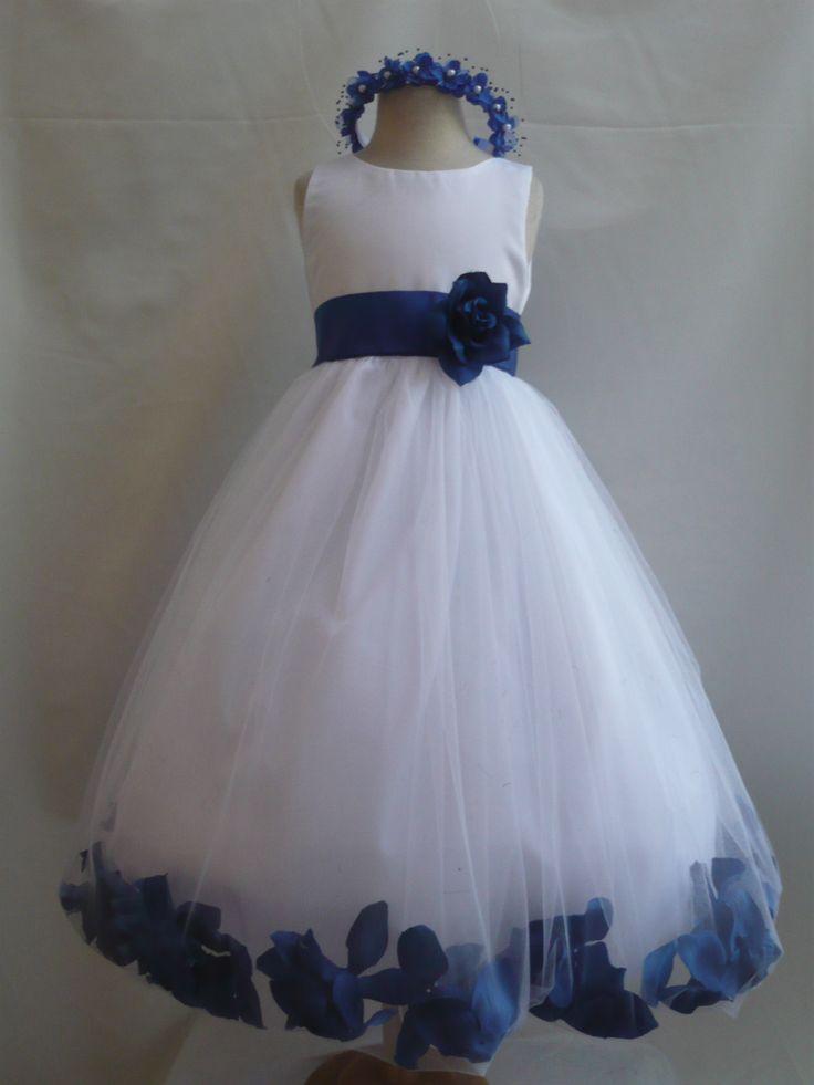 NWT WHITE ROYAL BLUE WEDDING FLOWER GIRL DRESSES 6-12-18-24MO 2 4 6 8 10 12 14 | eBay