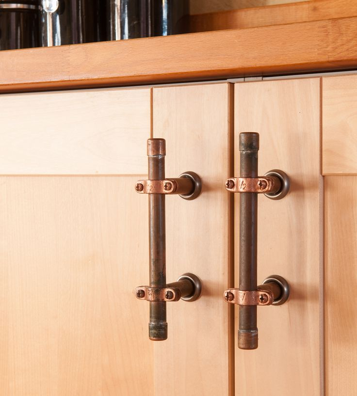 Industrial Copper Cabinet Handle by Nine & Twenty on Scoutmob Shoppe. This copper pipe cabinet handle that attaches to any cabinet door in your home for a stylish industrial charm.