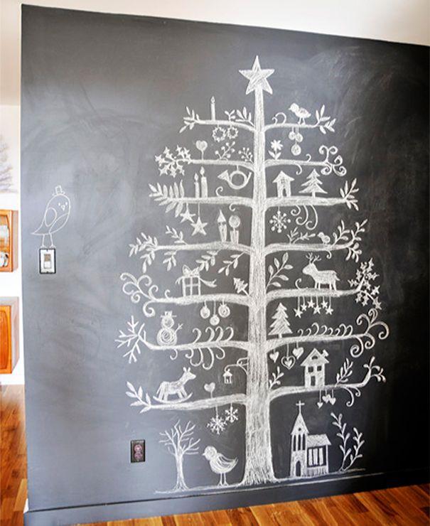 Christmas Tree Drawn On A Blackboard
