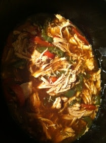 amber cooks: crockpot chicken fajitas with red and green bell peppers
