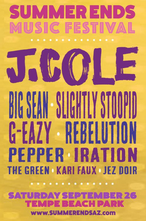 Arizona! You ready for Summer Ends Music Festival? We play Saturday 9/26 w/ J.Cole, BIG SEAN, Slightly Stoopid, G-Eazy, Rebelution, Pepper, The Green, and more.Get EARLY ENTRY tickets athttp://www.etix.com/ticket/online/performanceSearch.jsp?performance_id=7045133&cobrand=luckymanonline
