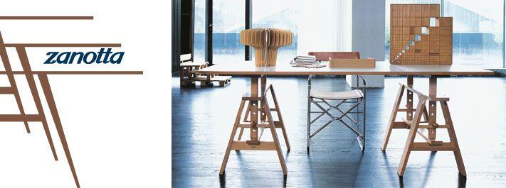 Tavolo Leonardo, disegnato da Achille Castiglioni nel 1940. Prodotto da Zanotta. E' possibile acquistare il tavolo completo oppure solo i due cavalletti. Info e prezzi su DCstore