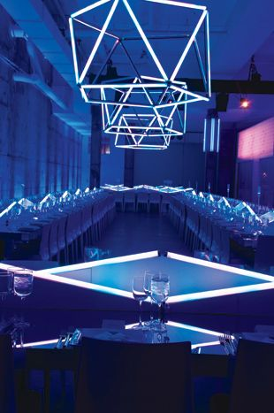 Another bar mitzvah designed by David Stark Design and Production featured LED light installations on the dinner tables as well as suspended... Photo: Susan Montagna