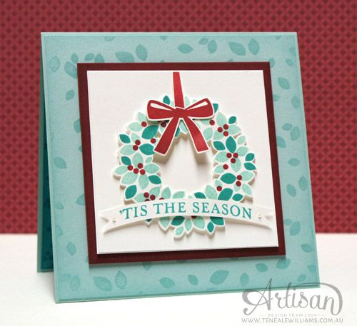 BY Teneale Williams | Christmas Card | Stampin' Up! Wondrous Wreath and Many Merry Stars Stamp Sets