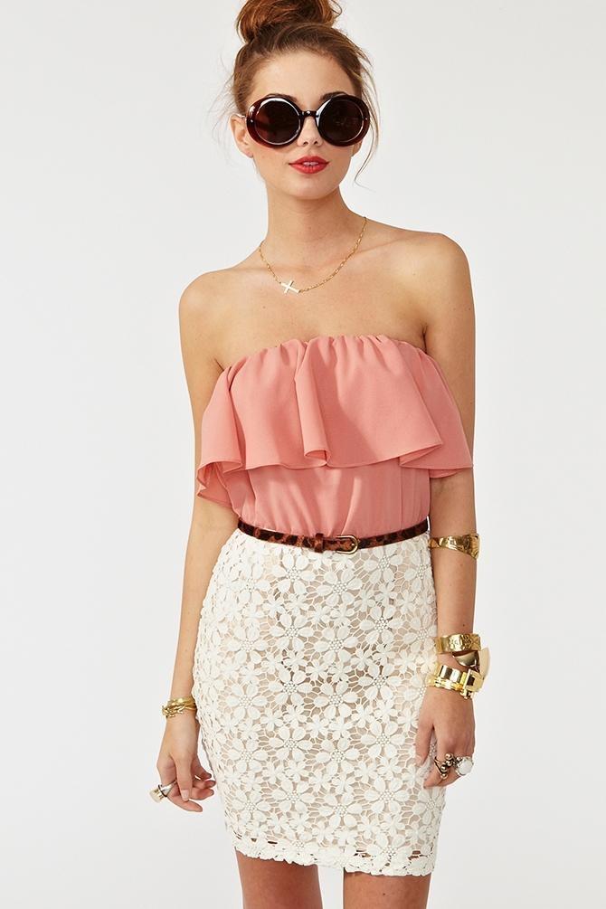 Ruffle Strapless Lace Crochet White Pencil Skirt Round