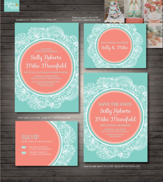 Coral and Mint Green Wedding Printables by DallinsPaperie on Etsy, $30.00