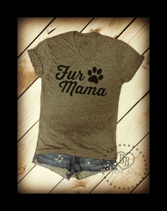 FUR MAMA Design on Tri-blend Gray V-neck Tee Shirt by BijouBuys