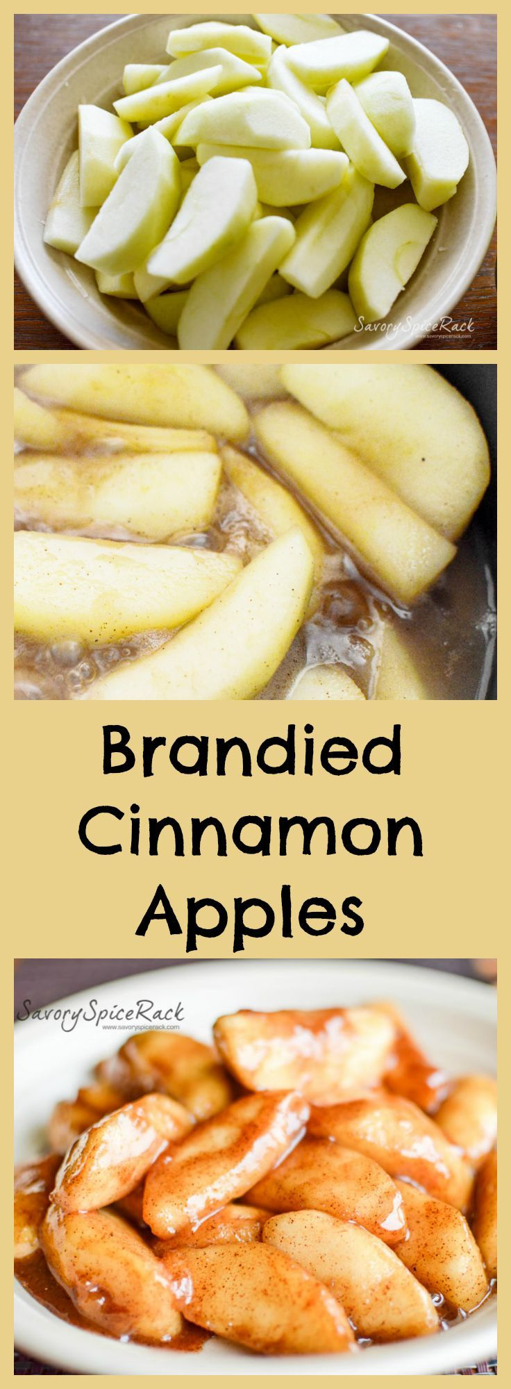 Cinnamon Apples cooked with Brandy.  Perfect topping for pancakes, ice cream, and more.