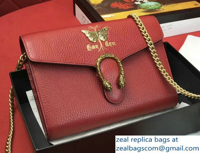 a674b29cf9bd Gucci Garden Dionysus Mini Chain Wallet Bag 516920 Butterfly Red 2018