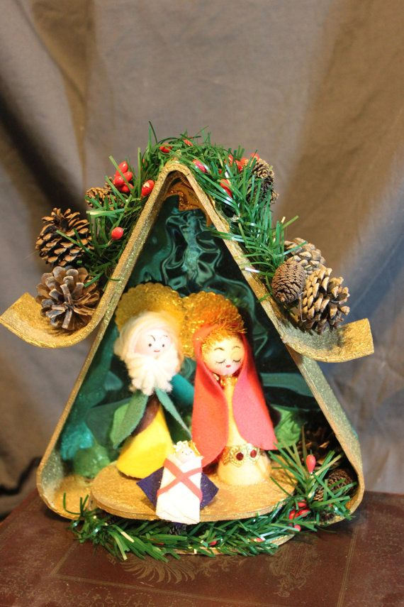 Handmade Vintage Christmas Nativity Scene Retro By