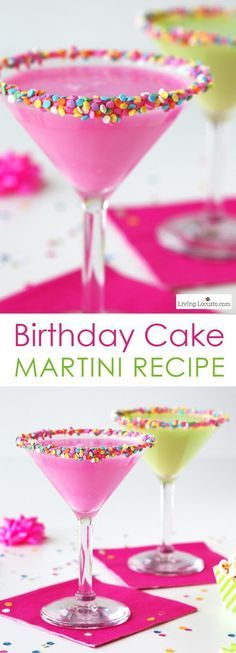 Colorful Birthday Cake Martini. An easy cocktail recipe that tastes just like a birthday cake! One of the Best Party Recipe Drink Ideas. http://LivingLocurto.com