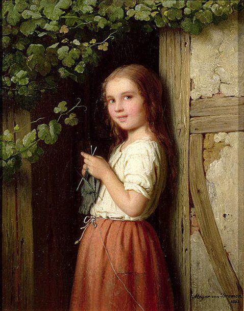 Young Girl Standing in a Doorway Knitting by Johann Georg Meyer von Bremen (1813 – 1886, German)