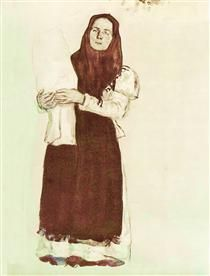A young peasant woman in a red scarf - Konstantin Yuon