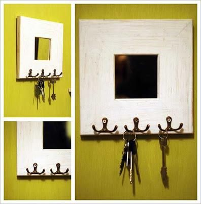 9 best images about key holder on pinterest shelves for Mirror key holder