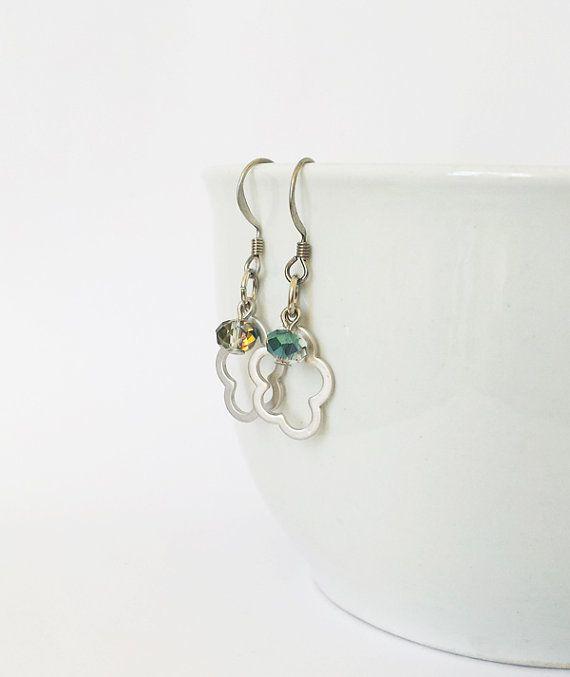 Zilveren wolk oorbellen, bruidsmeisje oorbellen, giften van Kerstmis voor crystal oorbellen, cadeau voor vriendin, beste vrienden, cadeau voor dochter