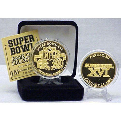 24kt Gold Super Bowl XVI flip coin