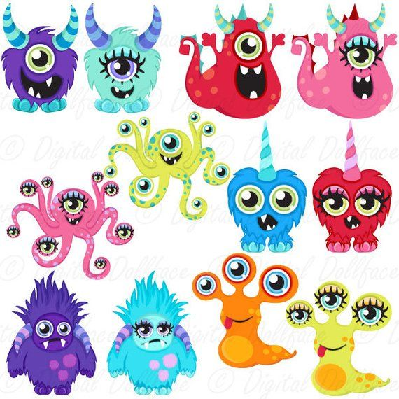 Little Monster Clipart Diy Birthday Party Decorations Cute Etsy In 2021 Monster Quilt Cute Monsters Monster Clipart