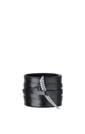 Shaun Leane | Black Leather + Diamond Sabre Cuff