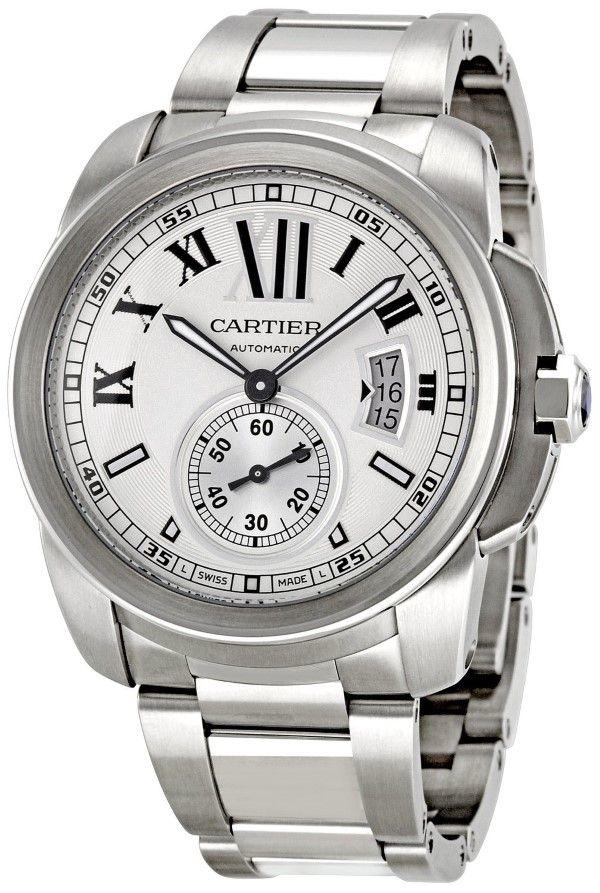 Men watches : Cartier Men's W7100015 Calibre de Cartier Silver Opaline Dial Watch