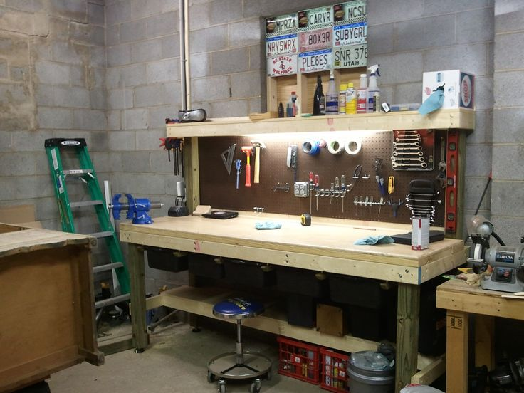 workbench lighting ideas. hereu0027s the workbench in my garage built on 4x4 legs with 2x10s top and lighting ideas b